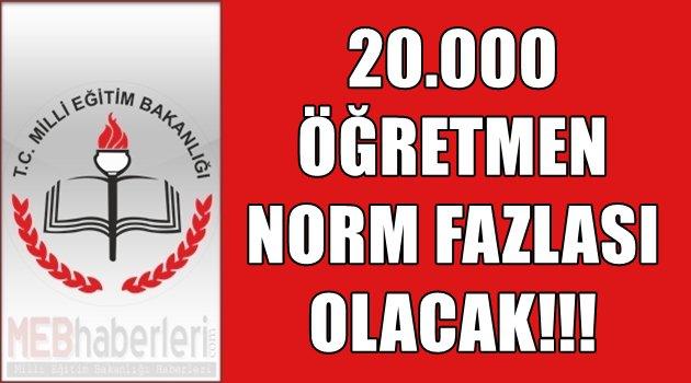 20.000 Öğretmen Norm Fazlası Olacak!