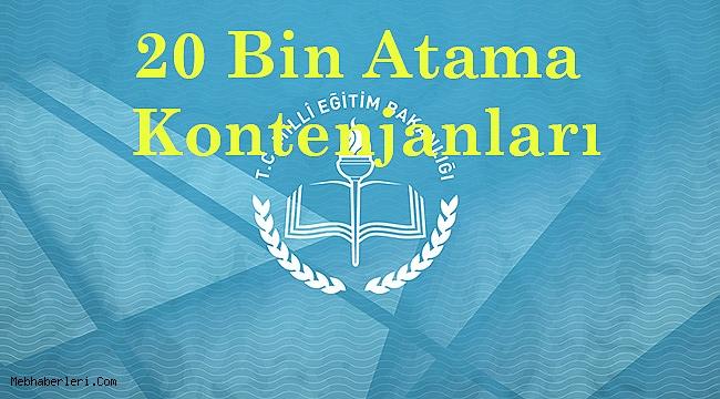 20 Bin Ek Atama Kontenjanları
