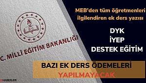 28 Mart İtibariyle DYK, İYEP, Destek Eğitim Kursları iptal edildi. Ek dersler ödenmeyecek