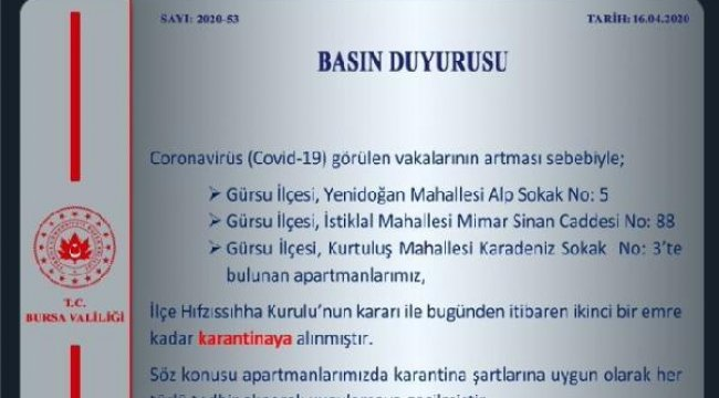 Bursa'da 3 apartman karantinaya alındı
