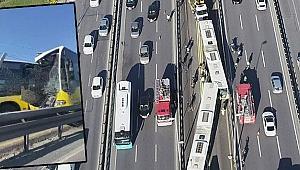 Metrobüs kazasından yeni görüntü! Çarpa çarpa geldi