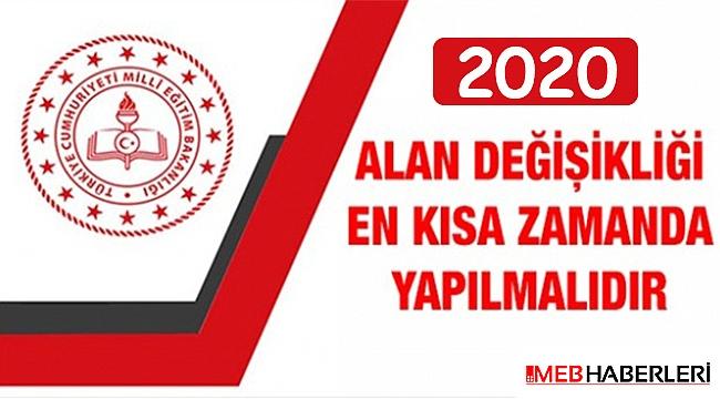2020 ALAN DEĞİŞİKLİĞİ EN KISA ZAMANDA YAPILMALIDIR