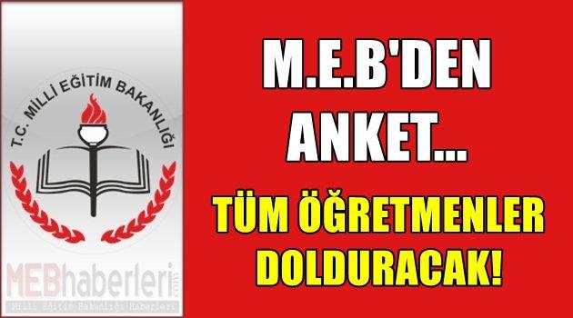 M.E.B'den Anket - Tüm Öğretmenler Dolduracak!