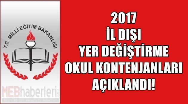 2017 İl Dışı Atama Okul Kontenjanları Belli Oldu!