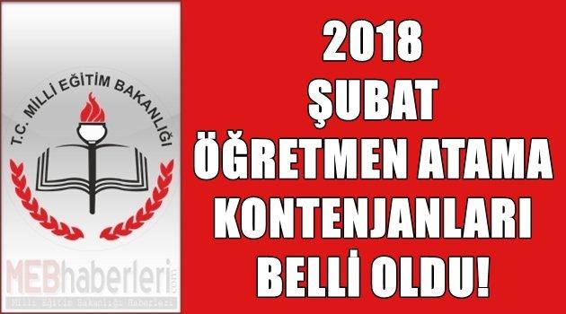 2018 Şubat Öğretmen Atama Kontenjanları Belli Oldu!
