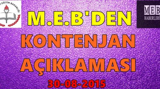 MEB'den Branşlara Göre Kontenjan Açıklaması - 30 Ağustos 2015
