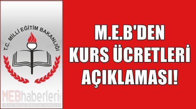 MEB'den Kurs Ücretleri Açıklaması!