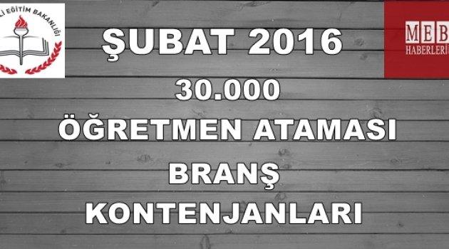 Şubat 2016 30 Bin Öğretmen Ataması Tahmini Kontenjanları