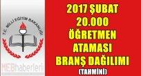 2017 Şubat 20.000 Öğretmen Ataması Branş Dağılımı - Tahmini