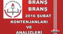 Branş Branş Şubat Atama Kontenjanları ve Analizleri