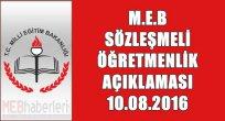 MEB Sözleşmeli Öğretmenlikle İlgili Açıklama Yaptı! 10 Ağustos 2016